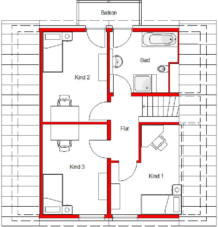 Grundriss Haus Family 140 Dachgeschoss von Mawo Massivhaus