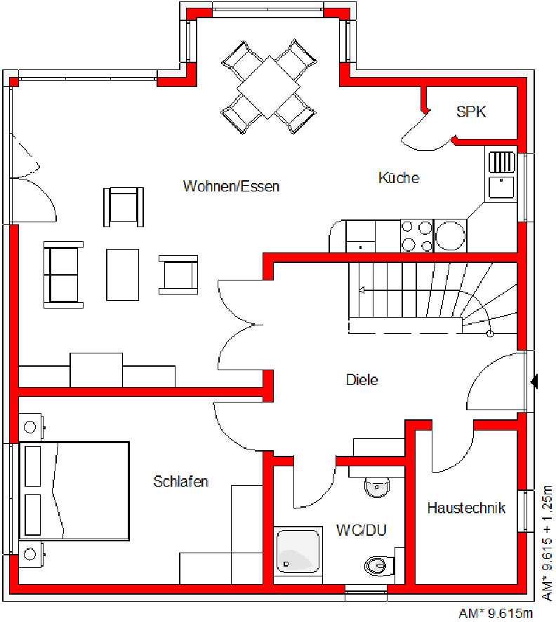 Grundriss Haus Family 140 Erdgeschoss von Mawo Massivhaus