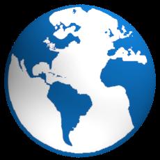 Weltkugel Design Blau Weiss - Schemabild Internet global